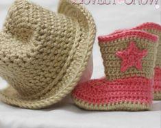 Patrón botas de vaquero bebé tamaños de ganchillo por TheLovelyCrow