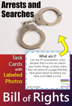 """Bill of Rights task cards and vocabulary photo match. Play as scoot, search the room, or center. """"What am I"""" clues match to labeled photographs showing each vocabulary word. Students infer about the described Bill of Rights amendment and record answers. Supports ELL and visual learners! Vocab pictures included for all Bill of Rights amendments."""