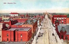 Cheyenne Wyoming WY 1908 Aerial View Downtown State Capitol Vintage Postcard
