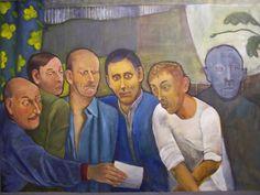 De brief met James Wood, Alexander Rodchenko e.a.  106 x 144 cm, olieverf op doek  € 2647,-