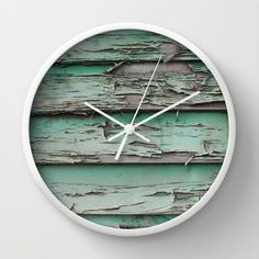 erode Wall Clock   ----------------------------------------- Wood house home style furniture mint teal wall art artwork alternative astrazero