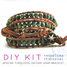 african turquoise leather wrap bracelet : DIY KIT supplies & tutorial - make your own.  Etsy.