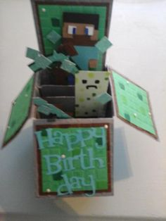 Minecraft birthday Pop-up box card by julikkers - Cards and Paper Crafts at Splitcoaststampers Homemade Birthday Cards, Kids Birthday Cards, Homemade Cards, Minecraft Box, Minecraft Party, Pop Up Box Cards, Card Boxes, Boy Cards, Kids Cards