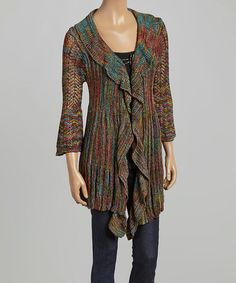 Look at this #zulilyfind! Aqua & Red Flare-Sleeve Cardigan - Women by Lady Noiz #zulilyfinds