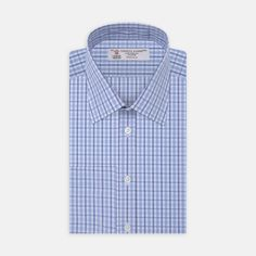 Turnbull & Asser Sky Blue And Navy Textured Check Shirt With T&a Collar Double Cuffs - 15.5