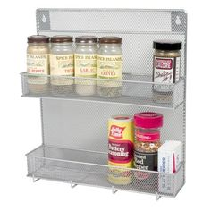 YBM Home Wall Mount Mesh Spice Rack Organizer with Hooks for Cabinet Pantry Door Kitchen, Large Hanging Spice Shelf, Chrome 1153 Spice Rack With Hooks, Wall Mounted Spice Rack, Spice Shelf, Spice Storage, Spice Jars, Storage Hooks, Oil Storage, Bath Storage, Garage Storage