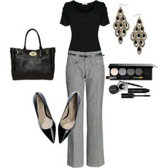 Plain black shirt and gray slacks never goes out of style. Too plain? Accessorize! Put some scarf or use a colorful hand bag to make this look a little less boring.