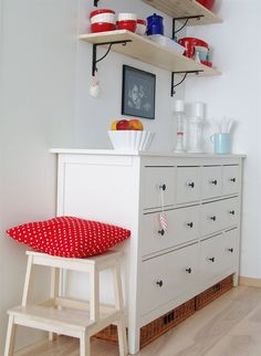 Hemnes Dresser Used As A Sideboard Stepping Stool And Shelves Above To Display Dishes