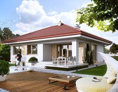 Home Discover Projekt domu MT Kiwi 2 CE - DOM - gotowy koszt budowy Home Building Design, Home Design Plans, Building A House, Indian Home Design, Indian Home Decor, Modern Bungalow House, Modern House Plans, Cottage House Plans, Cottage Homes