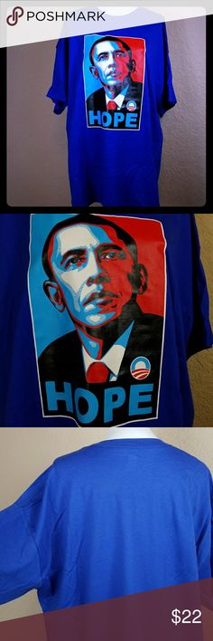 """Obama HOPE T-shirt XXL LONG ROYAL BLUE,NEW 32""""long! Arm pit to arm pit seam is 24"""" 18"""" round arm opening..new with out tags,never washed or worn.bright royal blue in perfect condition hanes Shirts"""