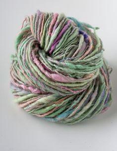 "Handspun Yarn ""Tea Rose"".  Merino wool blends with mohair and angora"