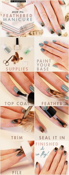 DIY Feathered Manicure nails fall diy craft nail art nail trends diy nails diy nail art easy craft diy fashion manicures diy nail tutorial autumn nails easy craft ideas teen crafts home manicures Love Nails, How To Do Nails, Pretty Nails, Fun Nails, Acrylic Nail Designs, Nail Art Designs, Diy Nails Tutorial, Nails Decoradas, Uñas Diy