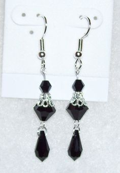 Silver and Black Swarovski Crystal Earrings by mommazart on Etsy, $12.00