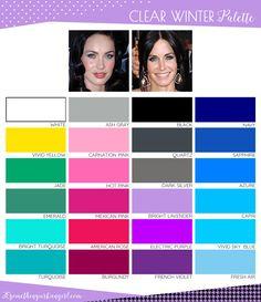 Cool Winter Color Palette, Deep Winter Colors, Spring Color Palette, Deep Winter Palette, Winter Typ, Clear Winter, Seasonal Color Analysis, Color Me Beautiful, Winter Makeup