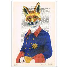 Militaire Fox Print Illustration affiche acrylique par Cocodeparis