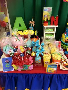 Sesame Street Birthday Party dessert table!  See more party planning ideas at CatchMyParty.com!
