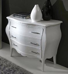 The White Alligator Embossed Pattern Leather Chest Of Drawers with Swarovski crystal handles, vibrant, fresh and the perfect addition to any room in the house.