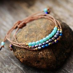 Vegan Adjustable Crystal Bead Bracelet Friendship Bracelets With Beads, Beaded Wrap Bracelets, Beaded Jewelry, Homemade Bracelets, Beaded Leather Wraps, Imitation Jewelry, Adjustable Bracelet, Crystal Beads, Turquoise Bracelet