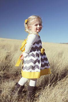 Custom Gray and Yellow Chevron Stripe Dress Sizes by MReeseDesigns, $39.95
