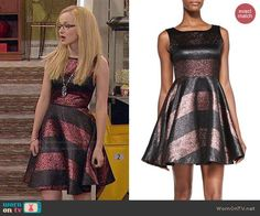 Maddie's striped prom dress on Liv and Maddie.  Outfit Details: http://wornontv.net/48075/ #LivandMaddie