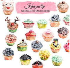 Watercolor Cupcake  Set  Commercial and Personal Use by kaazuclip