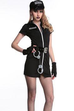 d15b8839938 Black Zipper Up Sexy Cop Costume. Police Halloween CostumesHalloween OutfitsCop  ...