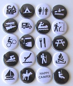 NPS RECREATIONAL SYMBOLS Flair Buttons or Badges for scrapbooking