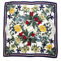 "Vintage Hermes Silk Scarf ""Pierres d'Orient et d'Occident"" Color: Multi Size: 35"" x 35"" Material: 100% Silk Country of Origin: France Care: Dry Clean Only"