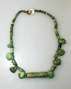 Superb pre-columbian Maya costum gold and jade bead necklace!
