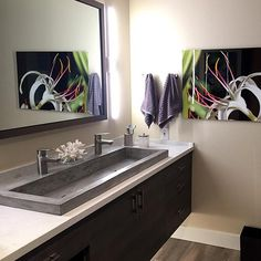 """Kihei Hawaiian Bath - Native Trails NativeStone Trough 4819 concrete and jute sink: """"This neglected condo bathroom was desperate for a modern update. The sink from Native Trails dictated how the rest of the bath would flow - from fixtures, to tile, to art."""" ~ Tim Tattersall"""
