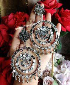 Indian Jewelry Earrings, Jewelry Design Earrings, Ear Jewelry, Beaded Earrings, Women's Earrings, Boho Jewelry, Silver Jewelry, Silver Accessories, Trendy Jewelry