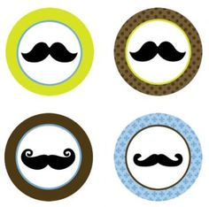 Mustache Party Edible Cupcake Toppers