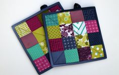 Modern Quilted Pot Holders Set of 2 Colorful by MyBitOfWonder