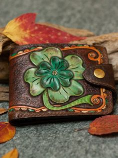 Hand Tooled Leather Wallet with Celtic Clover Design, shamrock green bifold wallet for women, brown wallet with irish knot Tooled Leather, Leather Tooling, Leather Wallets, Leather Handbags, Irish Knot, Thick Thread, Passport Holders, Brown Wallet, Exotic Pets