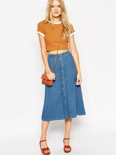 Denim Button Through Western Midi Skirt by ASOS