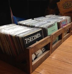"45 rpm/7inch Record Storage Crate // No more empty 12 pack boxes! Finally a proper way to store your 7"" and 45's"