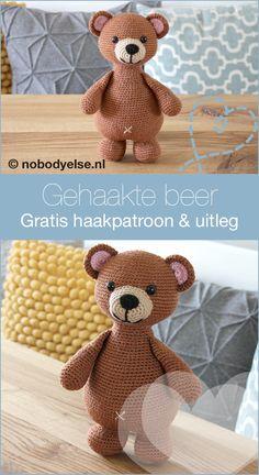 Haken: Bram de Beer, gratis eigen haakpatroon - Nobody ELSe Crochet Bear, Crochet Animals, Crochet For Kids, Diy Crochet, Crochet Toys, Granny Square Crochet Pattern, Crochet Diagram, Amigurumi Patterns, Crochet Patterns