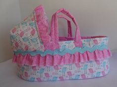 Doll Bed Moses Basket Available in 2 Sizes for by thatssewholly Pink or Blue!