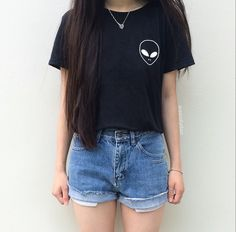 Alien Print Pocket Black Tee • Clothes Outift for woman • teens • dates • stylish • casual • fall • spring • winter • classic • fun • cute • summer • parties • sparkle