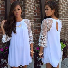 White lace sleeve dress #swoonboutique