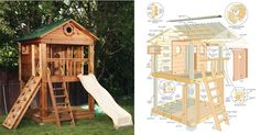 Swings How to Build a Playhouse Kids Playhouse DIY Playhouse Plans and Instructions http How to Build a Playhouse Learn Pin it Cities Kids Playhouse Plans, Childrens Playhouse, Backyard Playhouse, Build A Playhouse, Wooden Playhouse, Simple Playhouse, Playhouse Interior, Backyard Fort, Wooden Playset