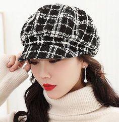 Black and white plaid hat for women soft autumn newsboy cap