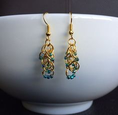 Gold chainmaille and teal bead earrings