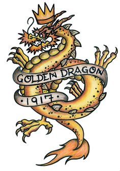 A GOLDEN Dragon signifies a sailor has crossed the international date line (the 180th meridian). #navy #tattoo #dragon #golden