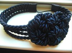 Navy nautical knot headband by TeaAccessories on Etsy