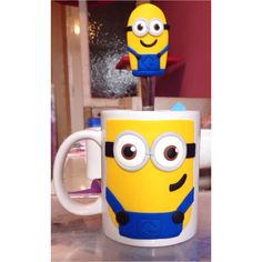 Polymer clay handmade homemade cute minion gru cute mug spoon