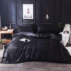 Black Bedroom Sets, Black Room Decor, Black Bedroom Design, Black Interior Design, Black Rooms, Dark Cozy Bedroom, Dark Bedrooms, Silk Bedding, Black Bedding