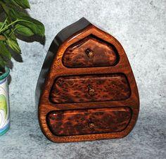 Redwood Burl Accents Mahogany on this Three Drawer by BurlWoodBox