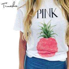 Summer T-Shirt Women 2017 Timechee Fashion Casual Colorful Fruit Printed O-Neck Tee Short Sleeve T-Shirts Female Tops LYY0158