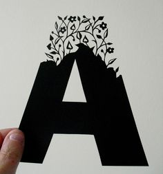 Contemporary typography-Folk Art Papercuts by Suzy Taylor: Papercut Initials Diy Paper, Paper Art, Paper Crafts, Diy Crafts, Laser Cut Paper, Origami, Freebies, Letters And Numbers, Art Plastique